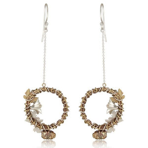 Sterling silver and brass wreath danglers
