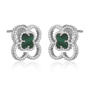 4 leaf clover silver studs - angled view