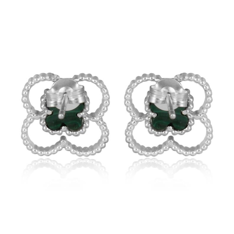 4 leaf clover studs silver - back view