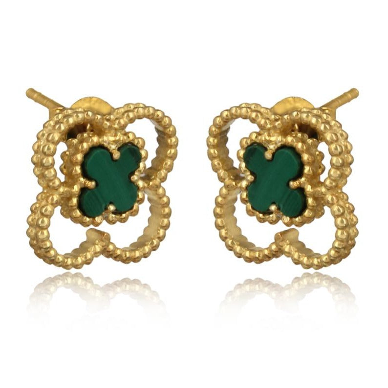 4 leaf clover studs gold plated