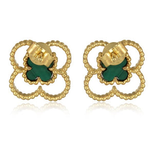 4 leaf clover earrings - 1 micron 18 carat gold plated