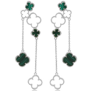 4 leaf clover drops with malachite stone - sterling silver