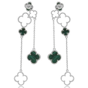 green 4 leaf clover drops in sterling silver - back view