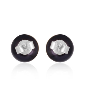 Black Tahitian Pearl Studs - Silver - Back view