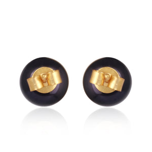 Black Tahitian Pearl Studs - Gold - Back view