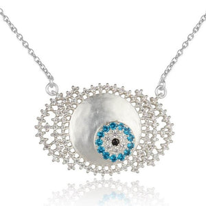 White zircon studded evil eye neckpiece