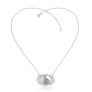 Evil eye talisman pendant with sterling silver chain