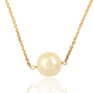 Single White Classic Pearl Necklace - Gold Plated