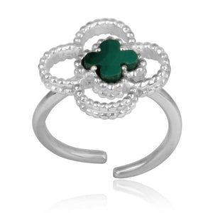 4 leaf clover ring - sterling silver
