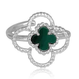 green malachite 4 leaf clover ring - silver