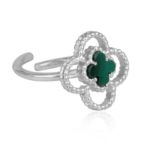 silver 4 leaf clover ring - malachite clover