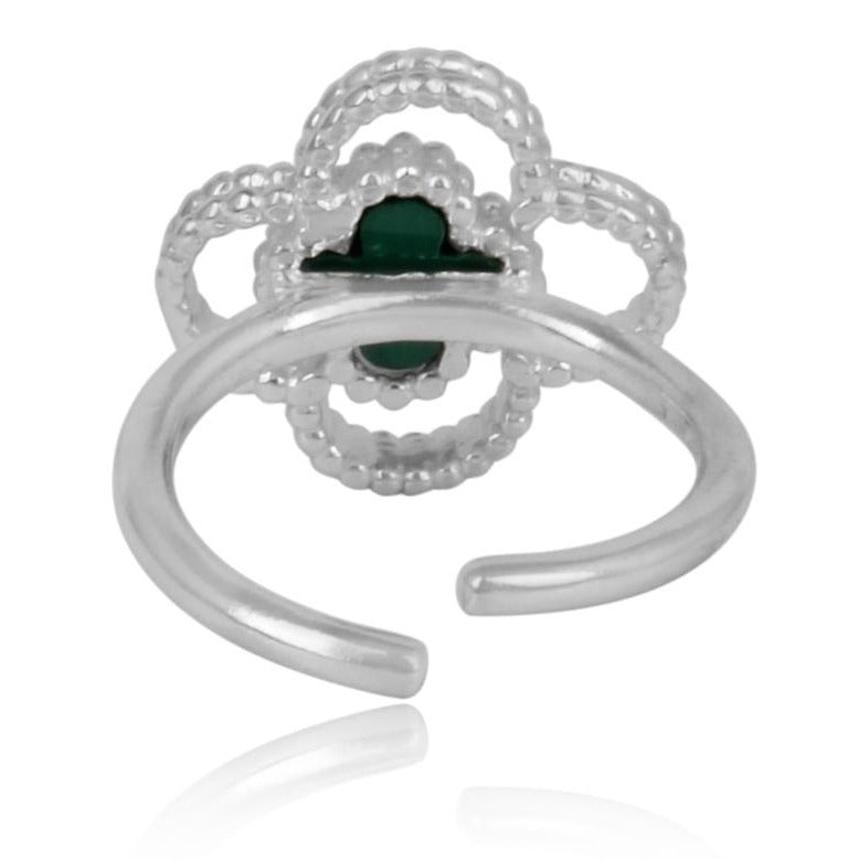 4 leaf clover silver finger ring - back view