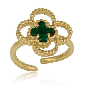 4 leaf clover finger ring - 1 micron gold plated