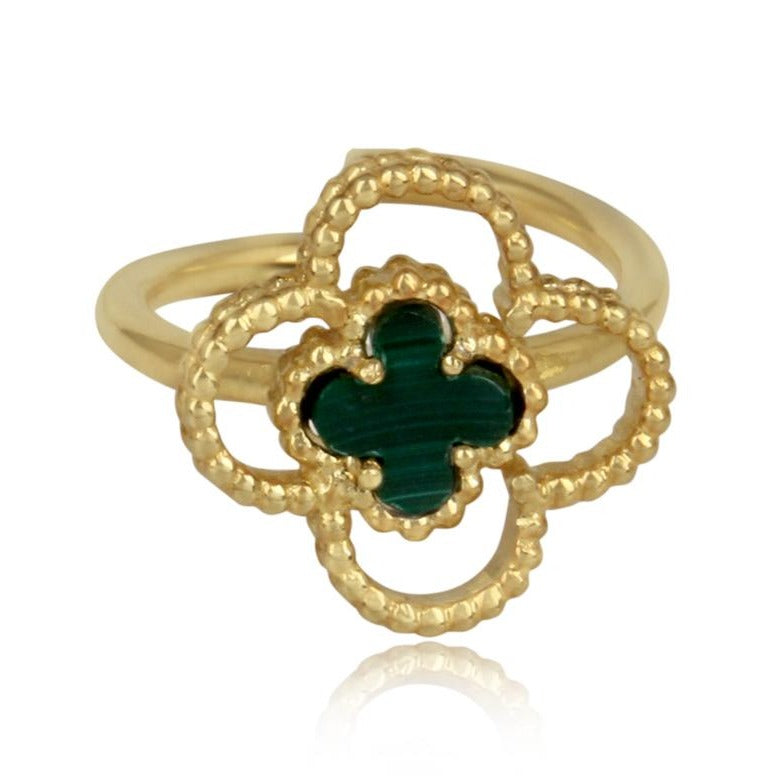 4 leaf clover ring gold - malachite stone studded