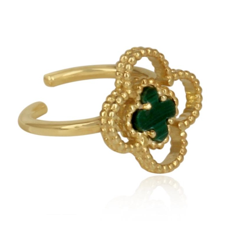 gold 4 leaf clover ring - adjustable finger ring