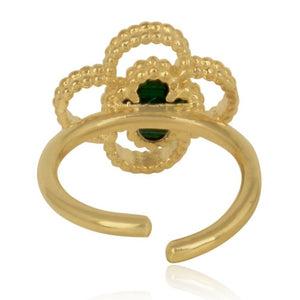 gold 4 leaf clover ring - back view