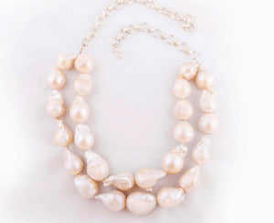 front view of baroque pearl necklace