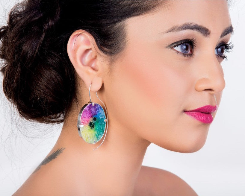 Rainbow splash earrings