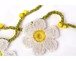 Cotton yarn crochet & tiny yellow beads garland