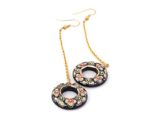 Gold kundan work black onyx drop earrings