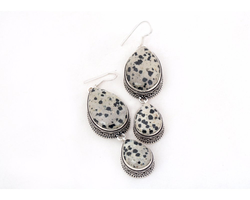 Dalmation stone drop danglers in silver color