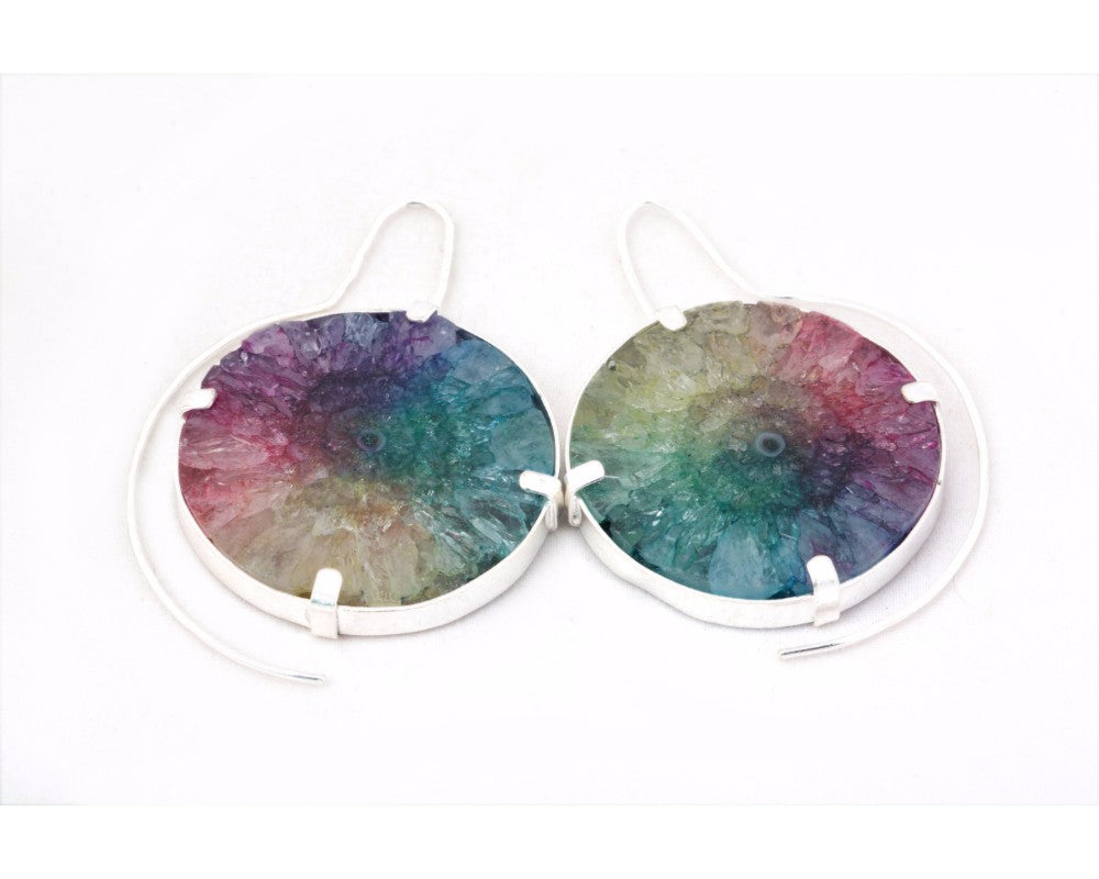 Rainbow colored solar quartz stone earrings