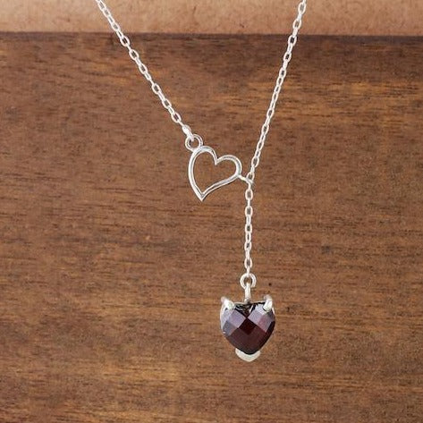 Heart shaped red garnet stone necklace