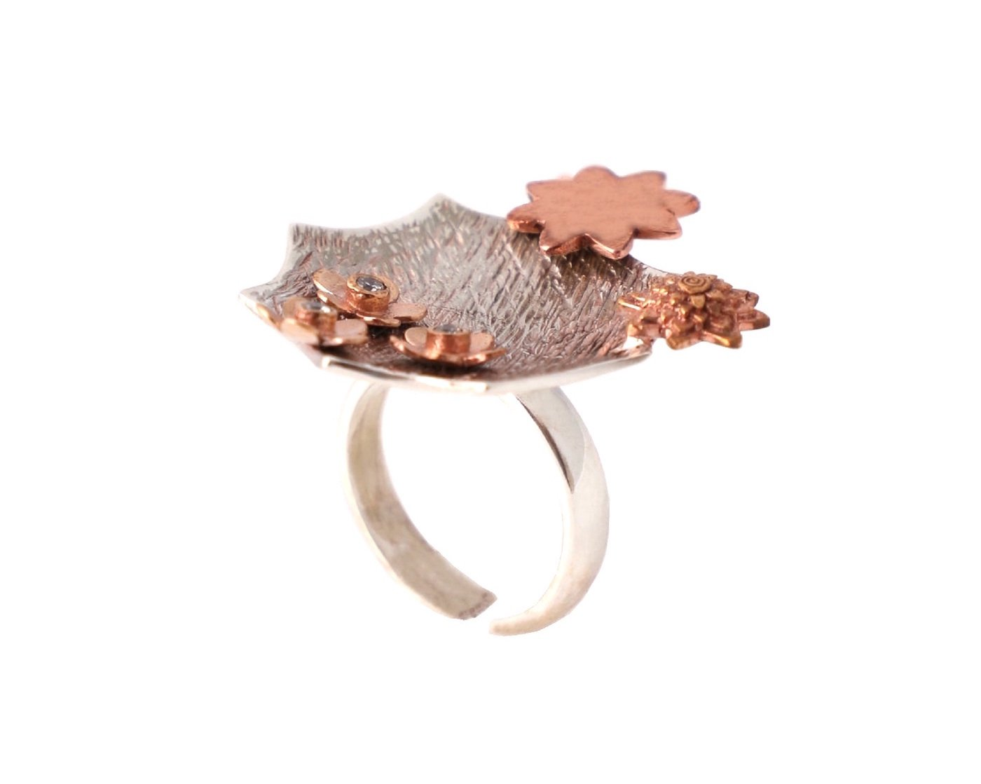 Adjustable mixed metal cocktail ring
