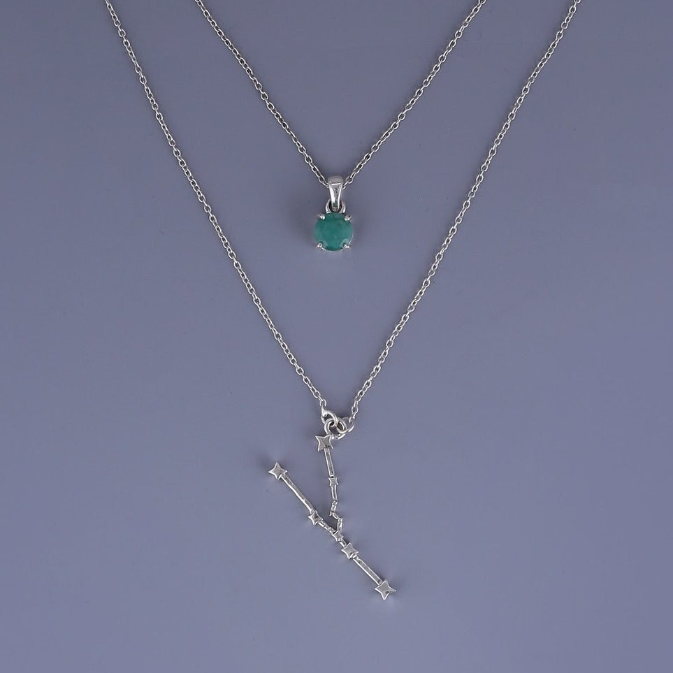 Taurus constellation & emerald birthstone pendant necklace