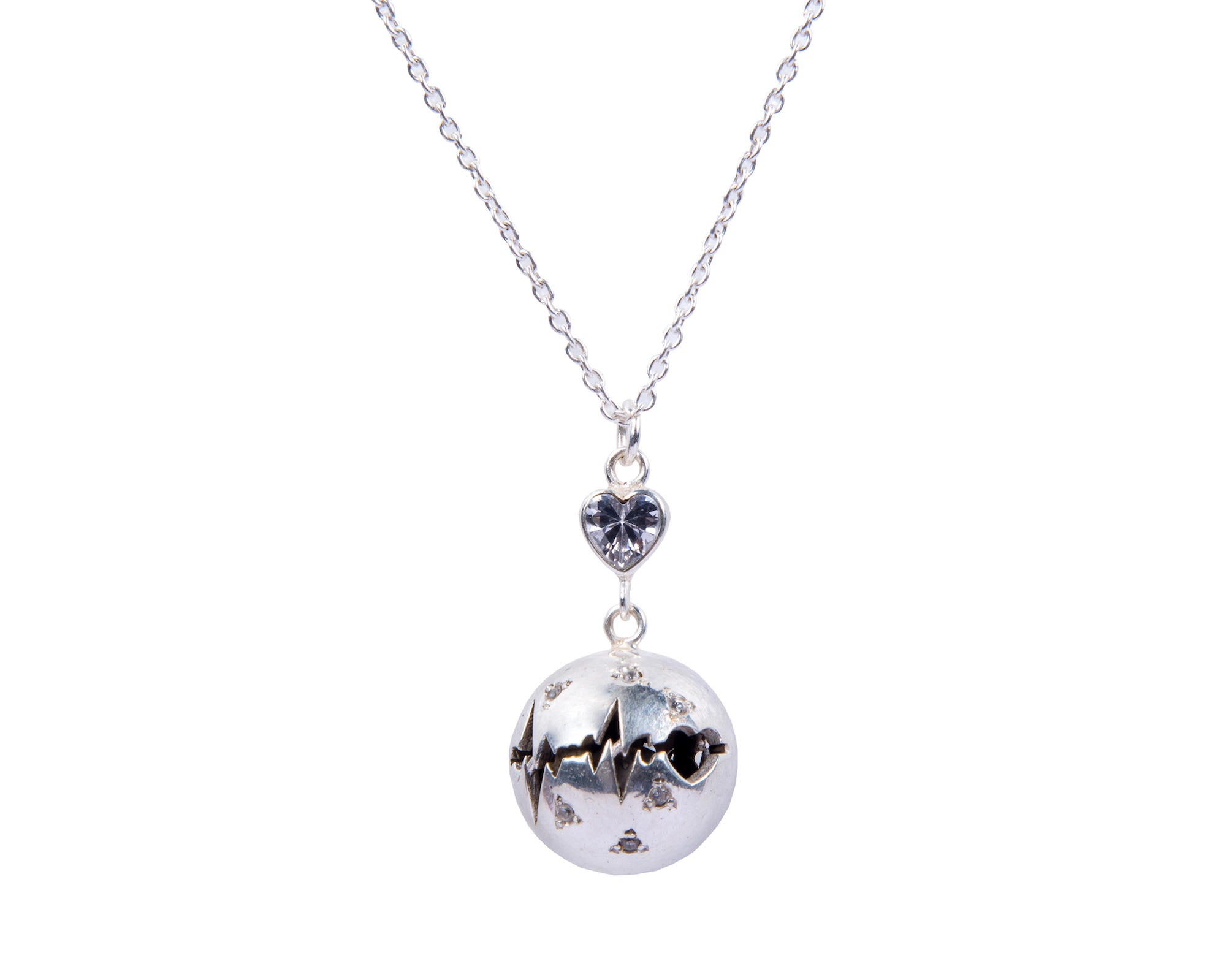 Harmony ball pendant with heart & heartbeat etching