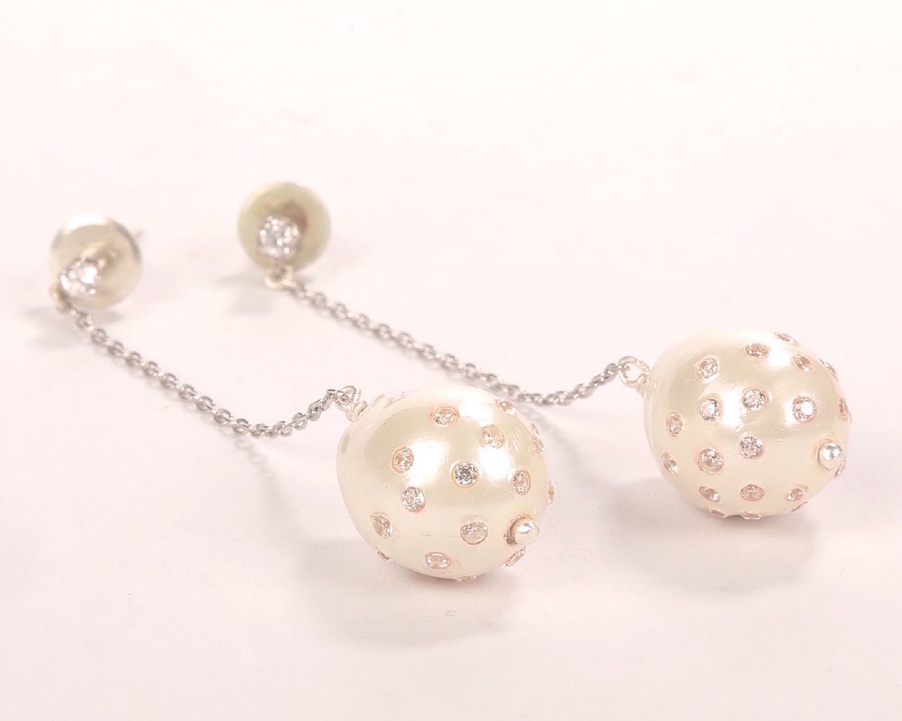 Fresh water pearl baroque drops studded with cubic zirconia