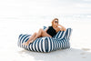 The Resort Lounger Outdoor Bean Bag Navy White Stripe Ultimate quality Unbeatable comfort
