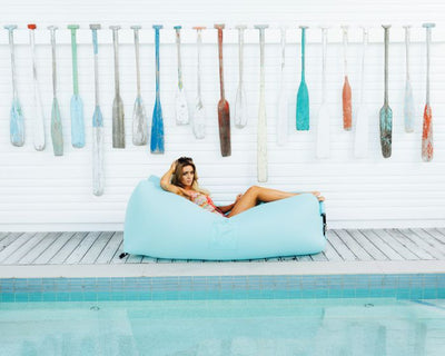 indoor outdoor bean bags, sunproof, olefin material, premium and luxury CloudSac Air Lounger Blue