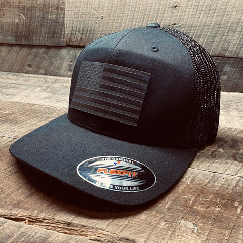 products/hand-made-leather-black-trucker-snapback-black-flag-leather-patch-hat-17358150434971.jpg