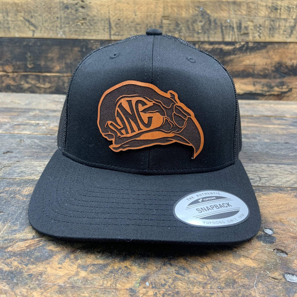 Hawk's Nest Head - Leather Patch Logo Hat - Hand-Made Leather Goods
