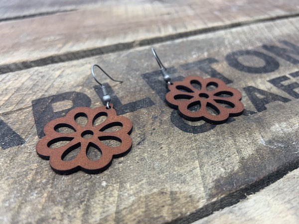 """Flower A"" Earrings - Hand-Made Leather Goods"