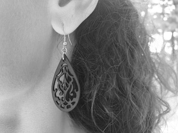 """Curls"" Earrings - Hand-Made Leather Goods"