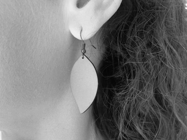 """Fig"" Earrings - Hand-Made Leather Goods"