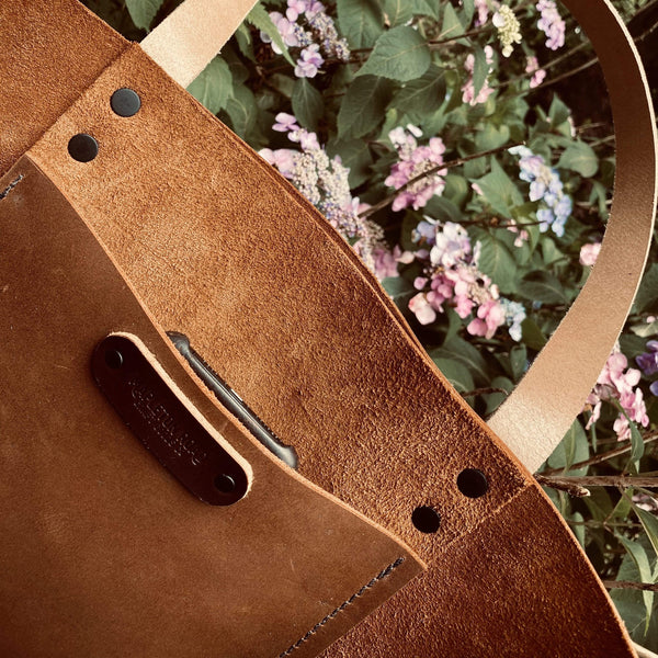 Large Tote In Brown Buffalo - Hand-Made Leather Goods