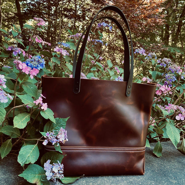 Large Tote In Lux Pull Up Leather - Hand-Made Leather Goods