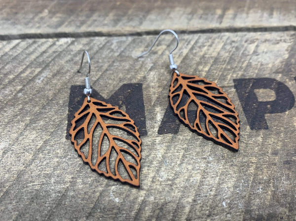"""Leaf"" Earrings - Hand-Made Leather Goods"