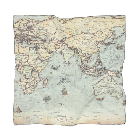 Vintage World Map Traveller's Poly Scarf