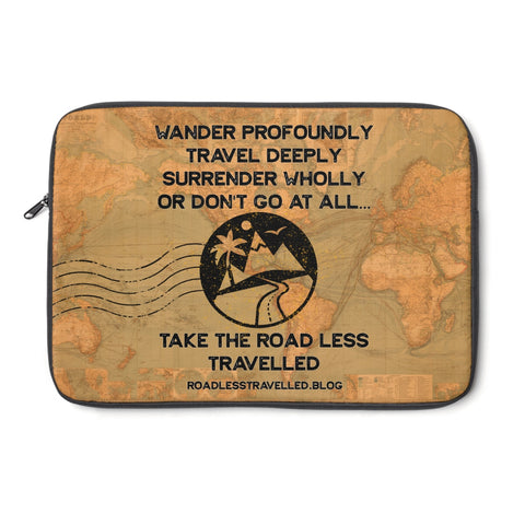 Road Less Travelled Quote, Antique World Map Laptop Sleeve