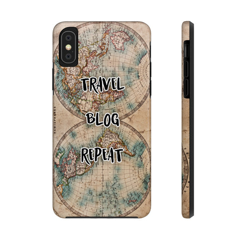 Travel Blog Repeat Colour Antique Map of the World Case Mate Tough Phone Case