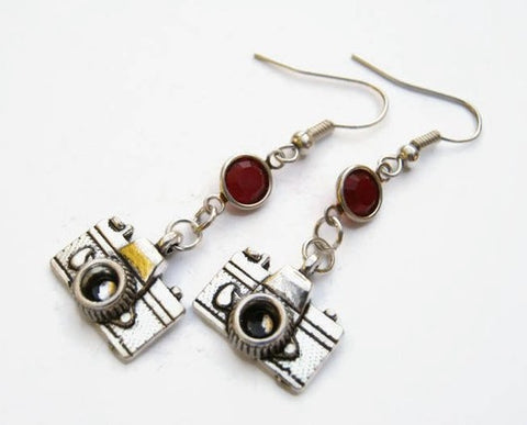 Unique Vintage Camera Earrings with Customisable Birthstone