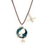 Antique Globe & Plane Travel Pendant Necklace