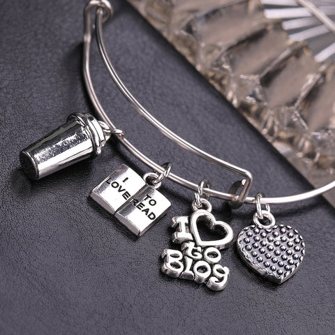 I Love to Blog and Read Charms Stainless Steel Expandable Wire Bangle Handmade DIY Jewelry Gift