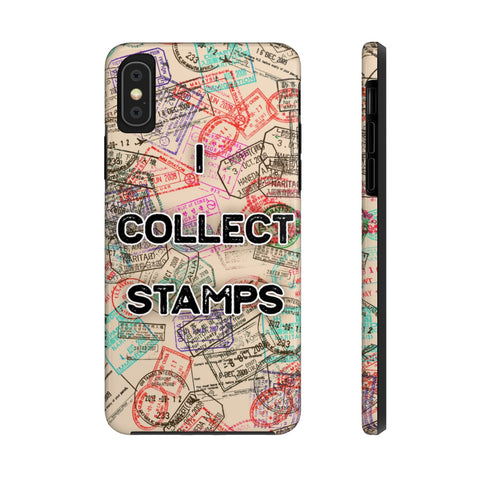 I Collect Stamps Sepia Passport Stamps Case Mate Tough Phone Case