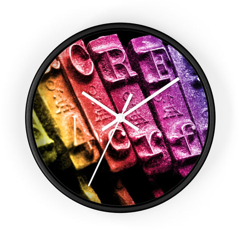 Colourful Typewriter Writer's Wall clock