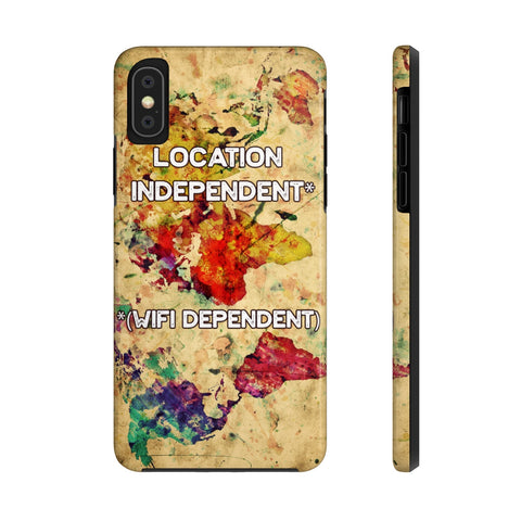 Digital Nomad Location Independent WIFI dependent World Map Tough Phone Cases